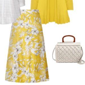 Dressbarn Yellow Floral Long Maxi Skirt